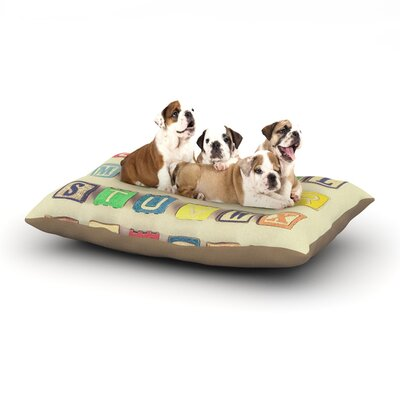 Debbra Obertanec 'Vintage ABC's' Wooden Letters Dog Pillow with Fleece Cozy Top Size: Large (50