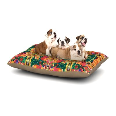 Dawid Roc Tropical Floral Dog Pillow with Fleece Cozy Top Size: Large (50 W x 40 D x 8 H)
