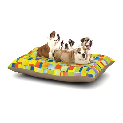 Dawid Roc Multi Color Blocking Geometric Dog Pillow with Fleece Cozy Top Size: Small (40 W x 30 D x 8 H)
