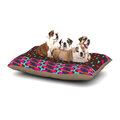 Famenxt Abstract Triangle Dog Pillow with Fleece Cozy Top Size: Large (50 W x 40 D x 8 H)