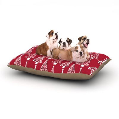 Emine Ortega Jolly Trees Dog Pillow with Fleece Cozy Top Size: Large (50 W x 40 D x 8 H), Color: Red