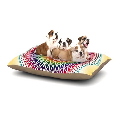 Famenxt Colorful Vibrant Mandala Geometric Dog Pillow with Fleece Cozy Top Size: Small (40 W x 30 D x 8 H)