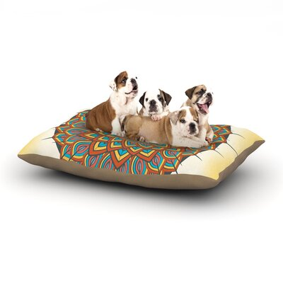 Famenxt Floral Mandala Geometric Dog Pillow with Fleece Cozy Top Size: Small (40 W x 30 D x 8 H)