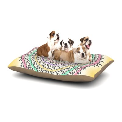 Famenxt Leafy Watercolor Mandala Pastels Abstract Dog Pillow with Fleece Cozy Top Size: Small (40 W x 30 D x 8 H)