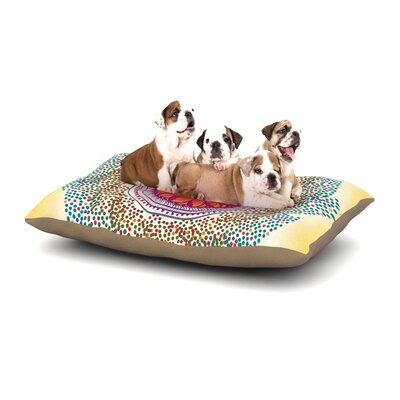 Famenxt Confetti Dots Mandala Abstract Dog Pillow with Fleece Cozy Top Size: Large (50 W x 40 D x 8 H)