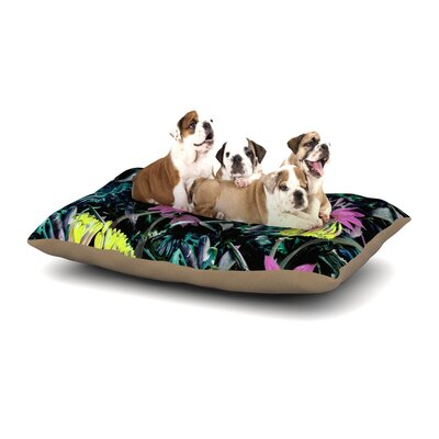Fernanda Sternieri Night Garden Neon Flowers Dog Pillow with Fleece Cozy Top Size: Large (50 W x 40 D x 8 H)