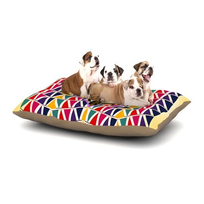 Famenxt Heart in Abstract Geometric Abstract Dog Pillow with Fleece Cozy Top Size: Small (40 W x 30 D x 8 H)