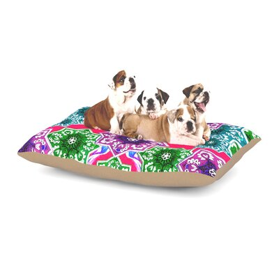 Fernanda Sternieri Flower Power Floral Dog Pillow with Fleece Cozy Top Size: Large (50 W x 40 D x 8 H), Color: Red/Magenta