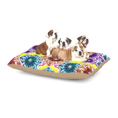 Fernanda Sternieri Flower Power Floral Dog Pillow with Fleece Cozy Top Size: Large (50 W x 40 D x 8 H), Color: Yellow