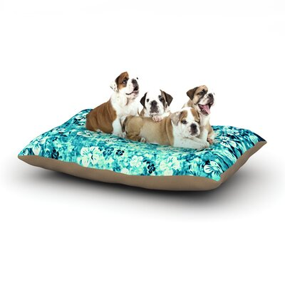 Ebi Emporium Flower Power Dog Pillow with Fleece Cozy Top Size: Large (50 W x 40 D x 8 H), Color: Blue/Teal/Aqua