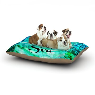 Ebi Emporium Take Me to the Sea Glitter Dog Pillow with Fleece Cozy Top Size: Large (50 W x 40 D x 8 H)