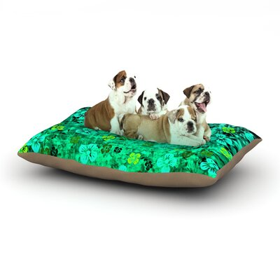 Ebi Emporium Luck of the Irish Floral Dog Pillow with Fleece Cozy Top Size: Large (50 W x 40 D x 8 H)