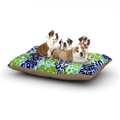 Ebi Emporium Circular Persuasian Dog Pillow with Fleece Cozy Top Size: Large (50 W x 40 D x 8 H), Color: Blue/Green/Aqua