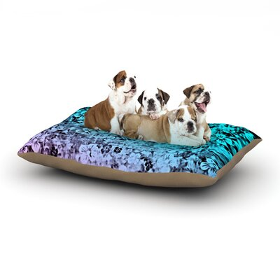 Ebi Emporium Flower Power Dog Pillow with Fleece Cozy Top Color: Aqua/Blue/Purple, Size: Large (50 W x 40 D x 8 H)