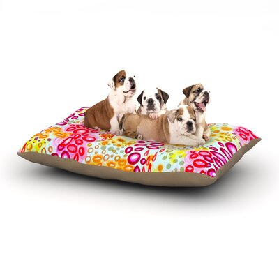 Ebi Emporium Circular Persuasian Dog Pillow with Fleece Cozy Top Size: Large (50 W x 40 D x 8 H), Color: Pink/Yellow