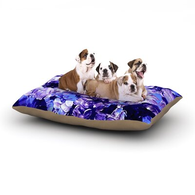 Ebi Emporium 'Floral Fantasy' Dog Pillow with Fleece Cozy Top Size: Large (50