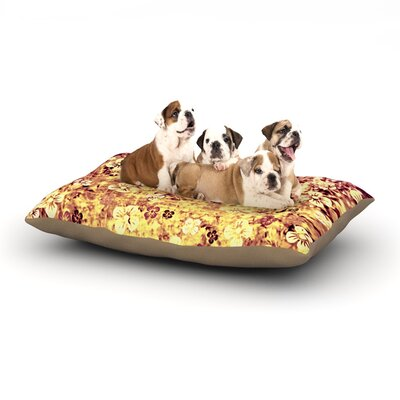 Ebi Emporium Flower Power Dog Pillow with Fleece Cozy Top Size: Small (40 W x 30 D x 8 H), Color: Yellow/Orange