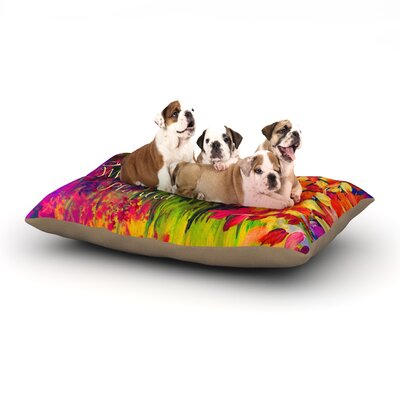 Ebi Emporium Bloom Where Youre Planted Floral Dog Pillow with Fleece Cozy Top Size: Small (40 W x 30 D x 8 H)