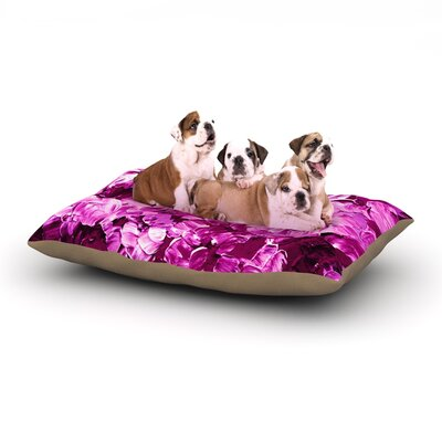 Ebi Emporium Floral Fantasy III Magenta Dog Pillow with Fleece Cozy Top Size: Small (40 W x 30 D x 8 H)