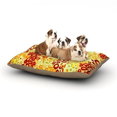 Ebi Emporium Circular Persuasian Dog Pillow with Fleece Cozy Top Size: Large (50 W x 40 D x 8 H), Color: Brown/Yellow