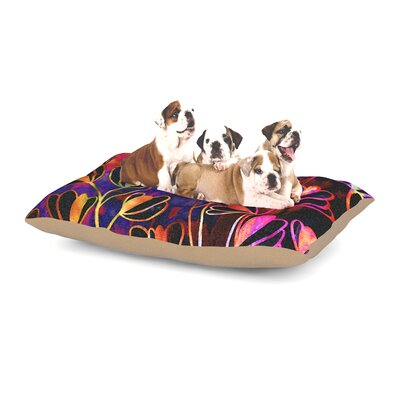 Ebi Emporium Effloresence Dog Pillow with Fleece Cozy Top Size: Small (40 W x 30 D x 8 H), Color: Red/Pink