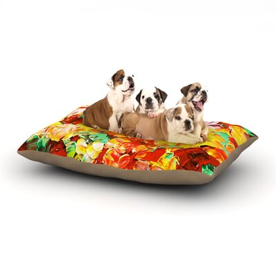 Ebi Emporium Floral Fantasy II Dog Pillow with Fleece Cozy Top Size: Large (50 W x 40 D x 8 H)