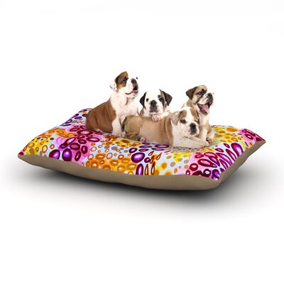 Ebi Emporium Circular Persuasian Dog Pillow with Fleece Cozy Top Size: Small (40 W x 30 D x 8 H), Color: Purple/Yellow/Pink