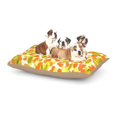Ebi Emporium Giraffe Spots Dog Pillow with Fleece Cozy Top Size: Large (50 W x 40 D x 8 H), Color: Orange/Yellow