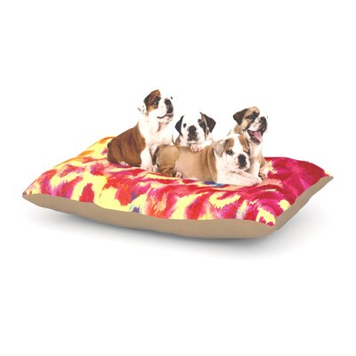 Ebi Emporium Wild at Heart Dog Pillow with Fleece Cozy Top Size: Large (50 W x 40 D x 8 H), Color: Pink/Orange