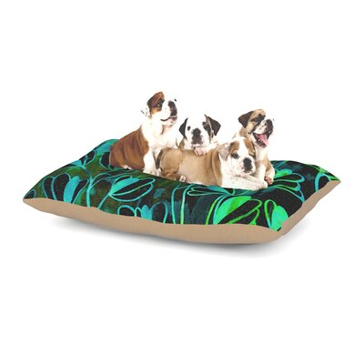 Ebi Emporium Effloresence Dog Pillow with Fleece Cozy Top Size: Small (40 W x 30 D x 8 H), Color: Green/Teal/Black