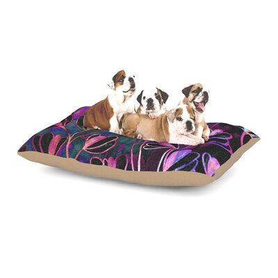 Ebi Emporium Effloresence Dog Pillow with Fleece Cozy Top Size: Small (40 W x 30 D x 8 H), Color: Pink/Purple
