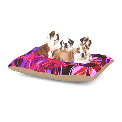 Ebi Emporium Effloresence Dog Pillow with Fleece Cozy Top Size: Small (40 W x 30 D x 8 H), Color: Pink/Rainbow