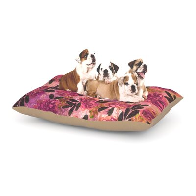 Ebi Emporium Grunge Flowers II Floral Dog Pillow with Fleece Cozy Top Size: Small (40 W x 30 D x 8 H)