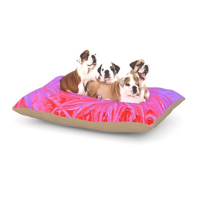 Ebi Emporium Water Flowers Crimson Lilac Dog Pillow with Fleece Cozy Top Size: Large (50 W x 40 D x 8 H)