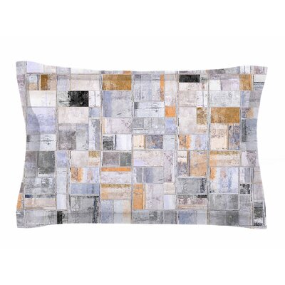 Susan Sanders Gray Tan Tile Squares Photography Sham Size: Queen
