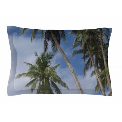 Susan Sanders Blue Sky Ocean Palm Trees Photography Sham Size: King