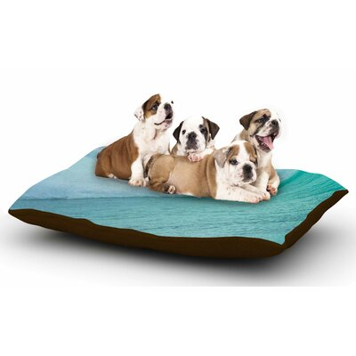 Susan Sanders Ocean Blue Wave Dog Pillow with Fleece Cozy Top