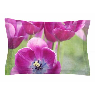 Sylvia Cook Purple Tulips Photography Sham Size: Queen