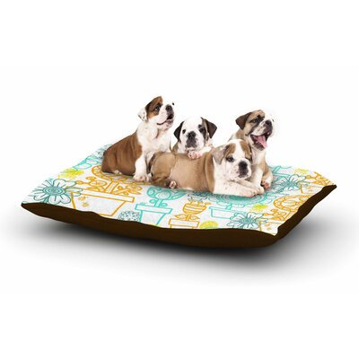 Jane Smith Potted Florals Dog Pillow with Fleece Cozy Top
