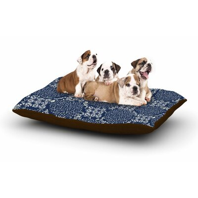 Laura Nicholson Indigo Lattice Dog Pillow with Fleece Cozy Top