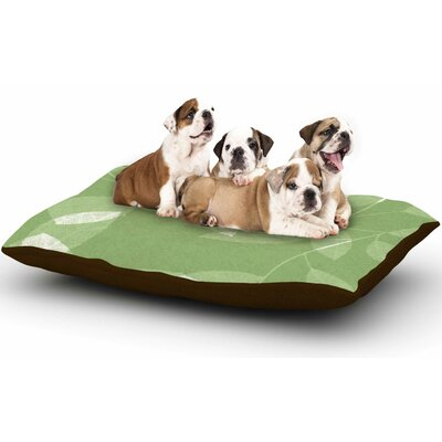 Alison Coxon Leaf Olive Dog Pillow with Fleece Cozy Top