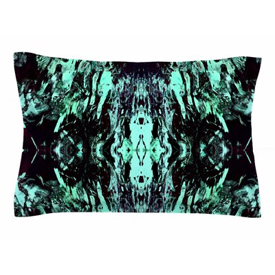Vasare Nar Abstract Aqua Black Mixed Media Sham Size: Queen