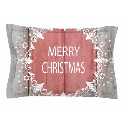 Suzanne Carter Merry Christmas Pink Holiday Typography Sham Size: 20 H x 40 W x 0.25 D