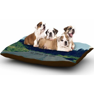 Robin Dickinson Go Explore the World Dog Pillow with Fleece Cozy Top