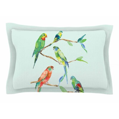 Sonal Nathwani Parrot Party Watercolor Sham Size: 20 H x 30 W x 1 D