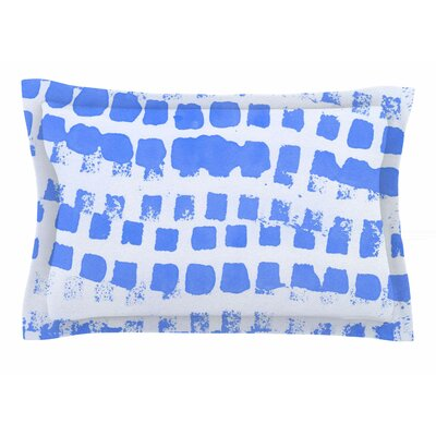 Vasare Nar Azure Blue Squares Illustration Sham Size: King