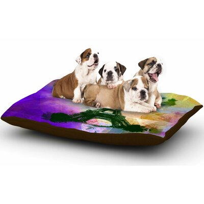 AlyZen Moonshadow 'Eiffel Tower (Purple)' Travel Dog Pillow with Fleece Cozy Top