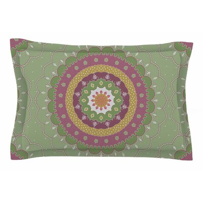 Cristina Bianco Design 'Green Pink Mandala Design' Illustration Sham Size: King
