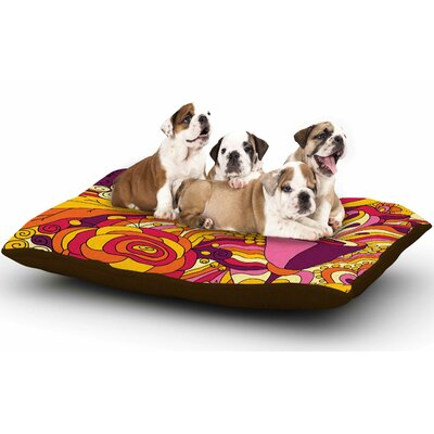Alisa Drukman Birds in Garden 2 Abstract Dog Pillow with Fleece Cozy Top Size: Small (40 W x 30 D x 8 H)