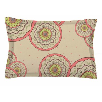 Cristina Bianco Design 'Pink Green Mandala Design' Illustration Sham Size: King